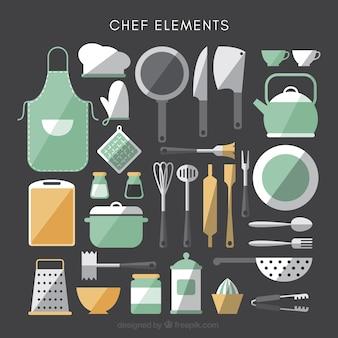 Raccolta di elementi da cucina in design piatto