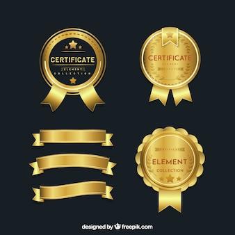 Raccolta di elementi del certificato in stile piano