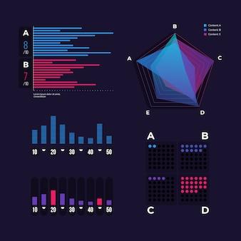 Raccolta di elementi del cruscotto di infografica