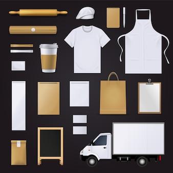 Raccolta di elementi del modello vuoto identità aziendale visiva grafica pasticceria panetteria
