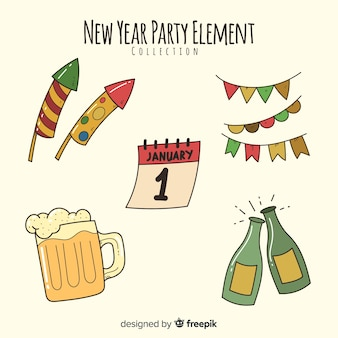 Raccolta di elementi del partito di nuovo anno disegnato a mano