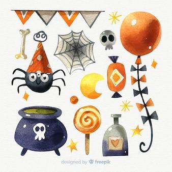 Raccolta di elementi dell'acquerello di halloween