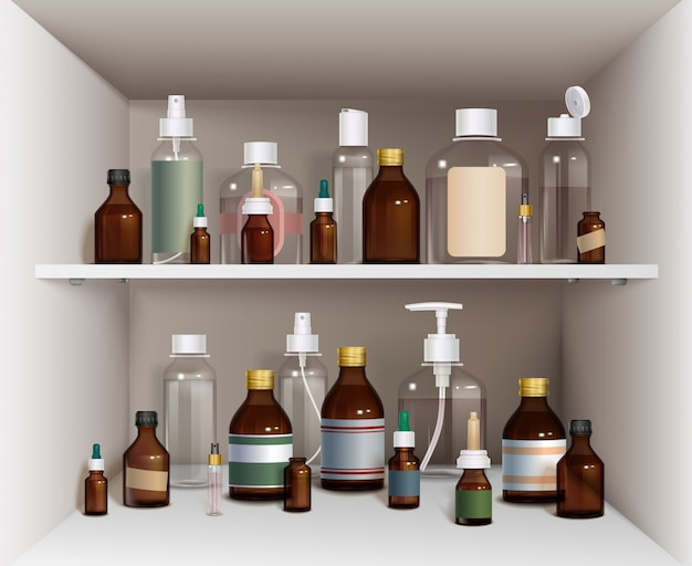 Raccolta di elementi di bottiglie mediche. bottiglie mediche