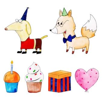 Raccolta di elementi di buon compleanno dell'acquerello