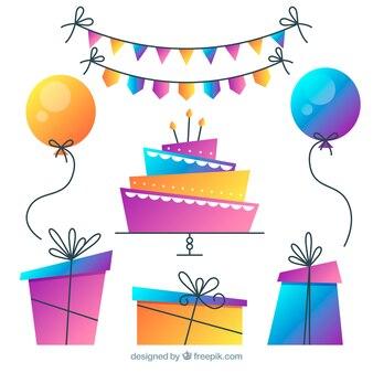 Raccolta di elementi di compleanno in sfumatura di colori