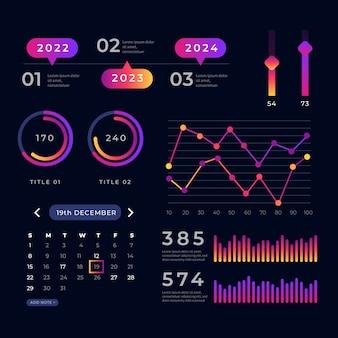 Raccolta di elementi di dashboard di grafici statistici