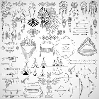 Raccolta di elementi di design tribali di doodle