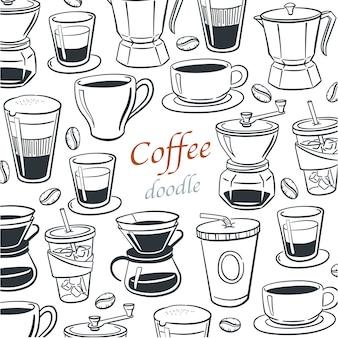 Raccolta di elementi di doodle di caffè per menu bar