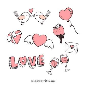 Raccolta di elementi di doodle di san valentino