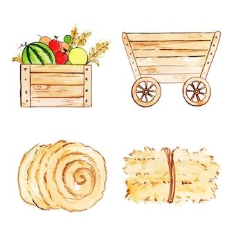Raccolta di elementi di fattoria dell'acquerello