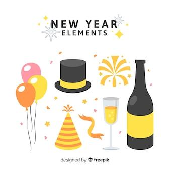 Raccolta di elementi di festa di capodanno