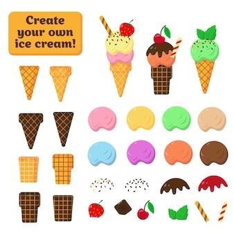 Raccolta di elementi di gelato e cialda su sfondo bianco. parti di gelato per creare il proprio design.