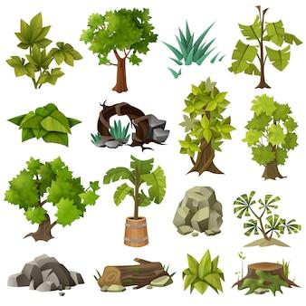 Raccolta di elementi di giardinaggio del paesaggio delle piante degli alberi