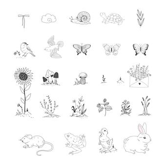 Raccolta di elementi di giardino doodle