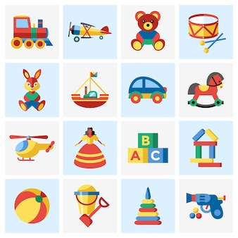 Raccolta di elementi di giocattoli