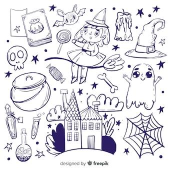 Raccolta di elementi di halloween disegnati a mano
