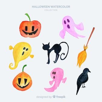 Raccolta di elementi di halloween in acquerello