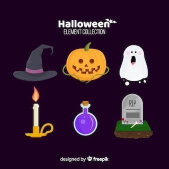 Raccolta di elementi di halloween in design piatto