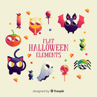 Raccolta di elementi di halloween in design piatto
