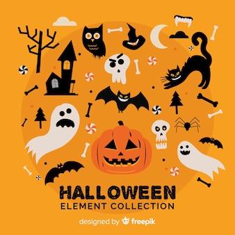 Raccolta di elementi di halloween piatta
