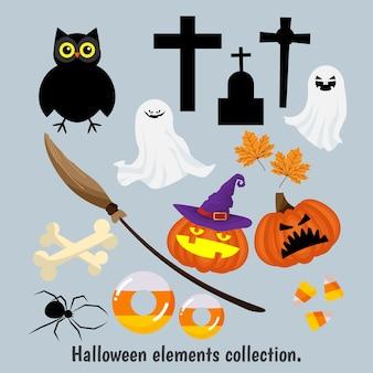 Raccolta di elementi di halloween.