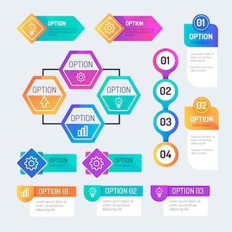 Raccolta di elementi di infografica gradiente