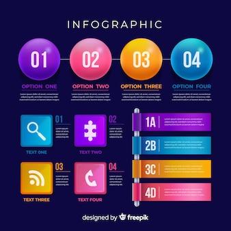 Raccolta di elementi di infografica in realistico stile di plastica lucida