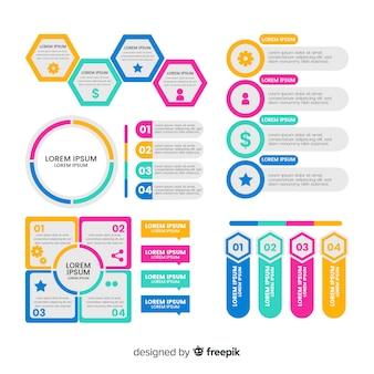 Raccolta di elementi di infografica in stile piano