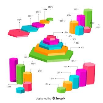 Raccolta di elementi di infografica isometrica