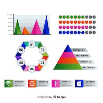 Raccolta di elementi di infografica sfumata