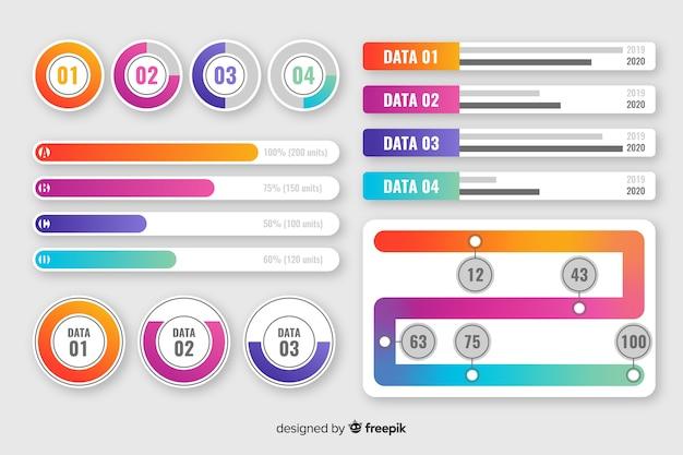 Raccolta di elementi di infografica sfumati