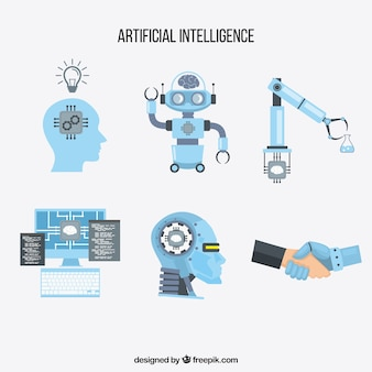 Raccolta di elementi di intelligenza artificiale in stile piatto