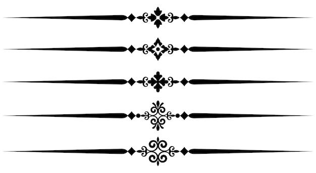 Raccolta di elementi di linea decorativa, insieme di belle regole ornamentali per il design borde