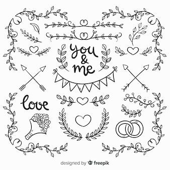 Raccolta di elementi di nozze disegnati a mano