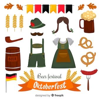 Raccolta di elementi di oktoberfest disegnati a mano