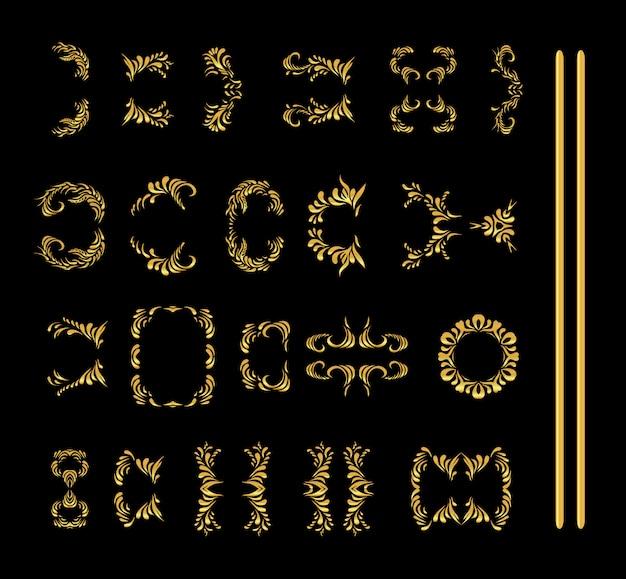 Raccolta di elementi di ornamento floreale oro isolato