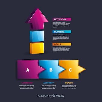 Raccolta di elementi di plastica infografica realistico