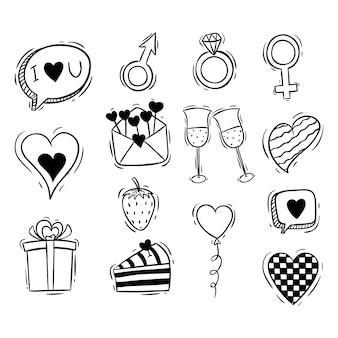 Raccolta di elementi di san valentino carino con stile disegnato a mano o doodle