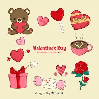 Raccolta di elementi di san valentino dei cartoni animati