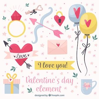 Raccolta di elementi di san valentino disegnata a mano