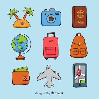 Raccolta di elementi di viaggio disegnati a mano