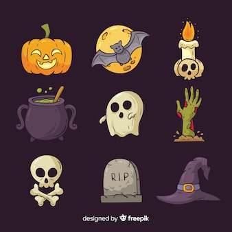 Raccolta di elementi disegnati a mano di halloween