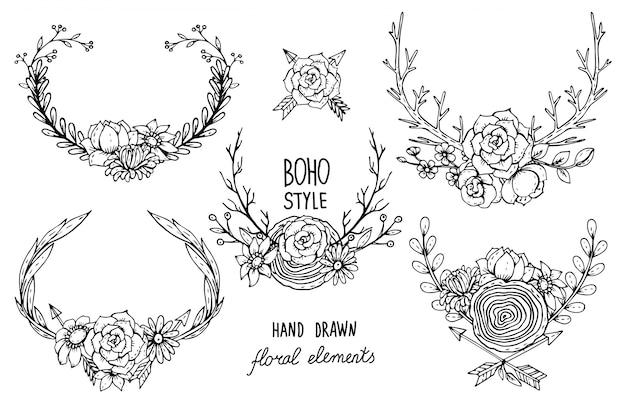 Raccolta di elementi floreali disegnati a mano in stile boho