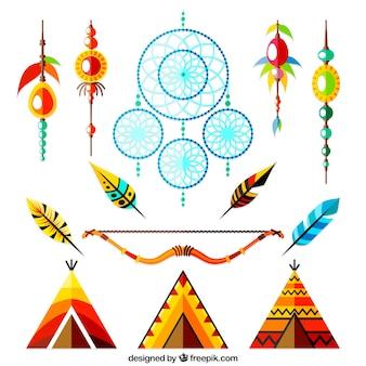 Raccolta di elementi indiani e dreamcatchers