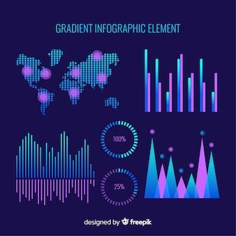 Raccolta di elementi infografica al neon