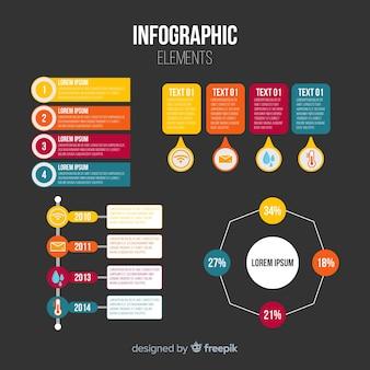Raccolta di elementi infografica piatta