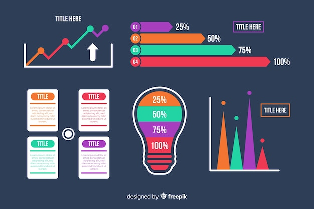 Raccolta di elementi infografica piatto gradiente