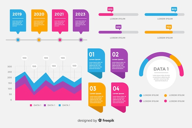 Raccolta di elementi infografici piatti