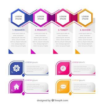 Raccolta di elementi infographic colorato in stile piano
