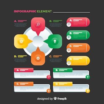Raccolta di elementi infographic colorato piatto